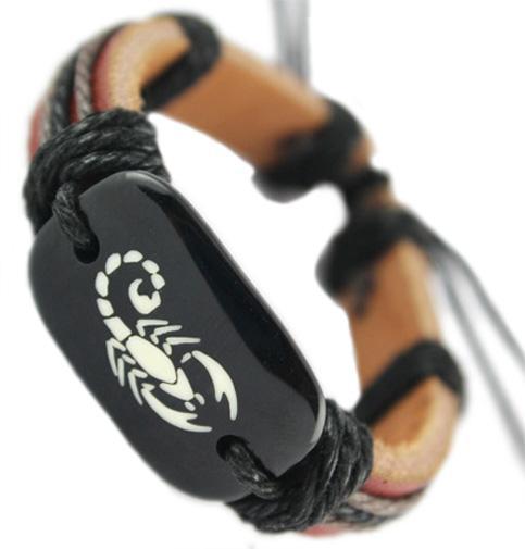 adjustable black brown genuine leather bracelet wholesale fashion scorpion chain hot men women handmade wristband bangle DJ023