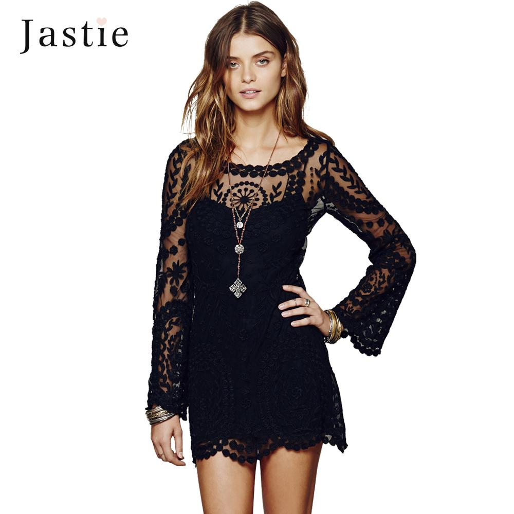 2e38db1837f6b Commemorative Bell Sleeve Dress Casual Femininos Crochet Floral Lace  Embroidery Dresses Sheer Boho People Style Women Magenta Cocktail Dresses  Juniors Grey ...