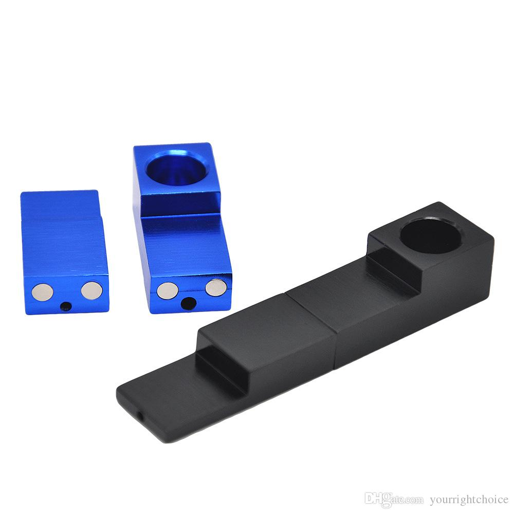 Small Magnetic Foldable Pipe Aluminum Alloy Metal Portable Dry Herb Smoking Magnet Folding Pipe