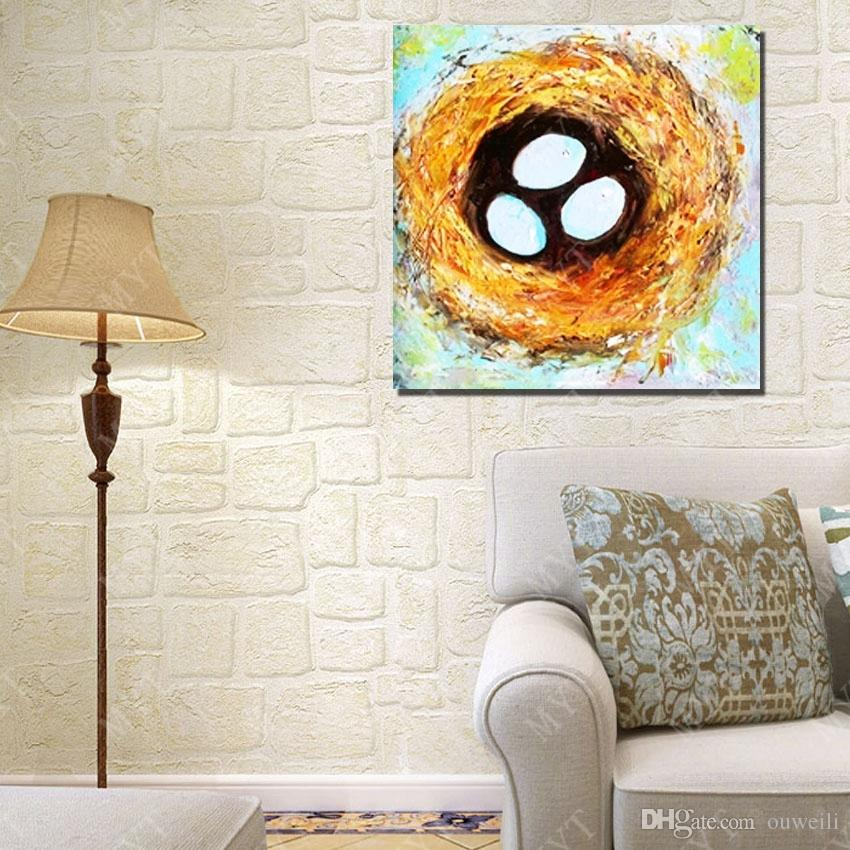 Cartoon birds nest picture abstract cartoon picture oil painting by hand painted copy reproduction living room wall decor