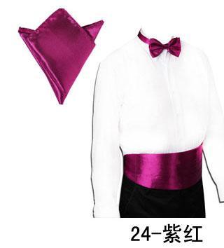 Fashion Men's Tuxedo Dress Bow Tie Solid Bowtie+Cummerbund Waist Sealing+Handkerchief Pocket for Father's Day Christmas Gift