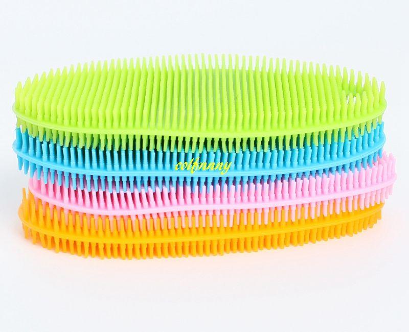 5 шт./лот Бесплатная доставка многофункциональный силиконовые блюдо чаша щетка для очистки Waterdrop губка щетка антибактериальная очистка Pad