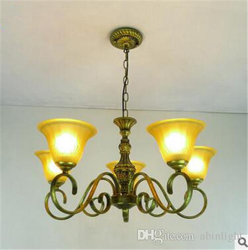 LRE006-2016New Design European Style Glass Chandelier Iron Lights Body with Glass Light Shade European Style Antique Pendant Lamp