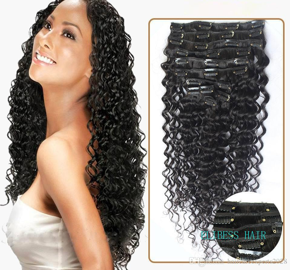 Elibesswholesale 14 Indian Remy Hair Deep Curly Wave Clip In Hair