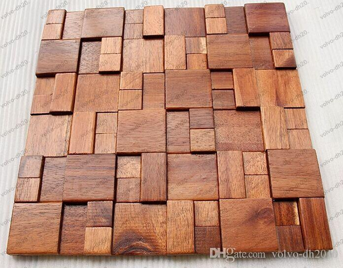 3D wooden mosaic tiles interior design wall tiles building supplies home hotel bar restaurant design mosaic tile patterns natural wood mosai