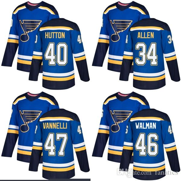 2019 2018 2017 New Brand Men St. Louis Blues 40 Carter Hutton 34 Jake Allen  47 Thomas Vannelli Jake Walman Blue Custom Hockey Jerseys From Fanatics ccd80238c