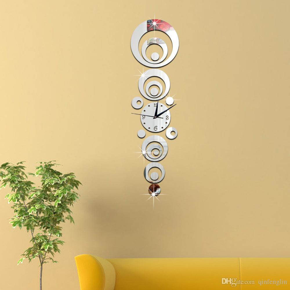 2016 Special Offer New 3d Snowball Mirror Clock Wall Stickers Mural ...