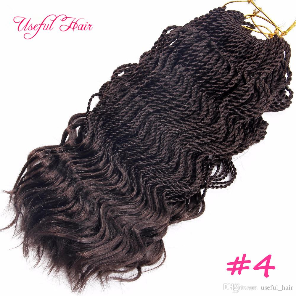 Pre-Twisted curl Senegalese Twist Crochet Braids hair 16inch half wave half curly kinky curly hair extensions synthetic braiding hair