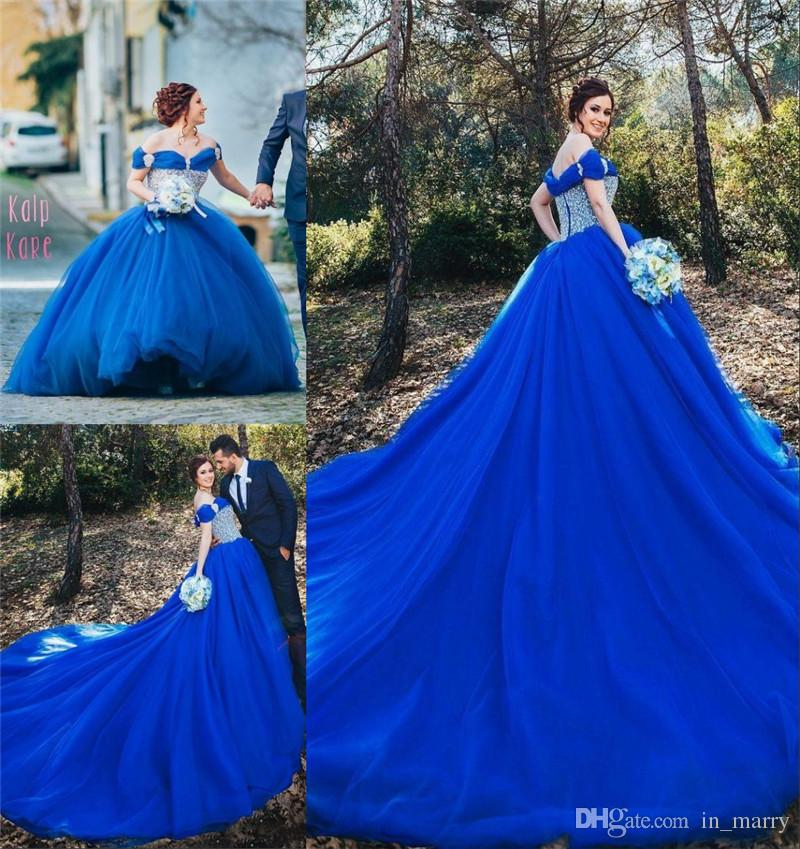 Royal Blue Cinderella Ball Gown Wedding Dresses 2016 Off Shoulder Crystals Plus Size Court Train Arabic Muslim Bridal Gowns Vestido De Novia Cotton