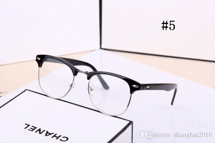 Moda Feminina Homens Designer R Estrela Óculos Limpar Lens espelho simples Óculos de Leitura Espetáculo Armação Nerd Geek Eyewear Óptico