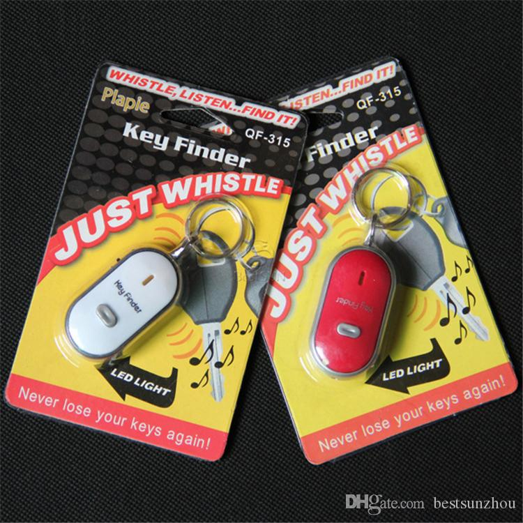 Whistle Activated Key Finder with LED Light and Switch Anti-Lost Alarm for Key Black/White/Blue/Red Retail Packing