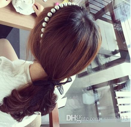 Korean Fashion School Student Big Girl Pearls Lace Hair Clasp Sticks Kids Hairband Princess Child Dance Performance Hair Accessories 11838