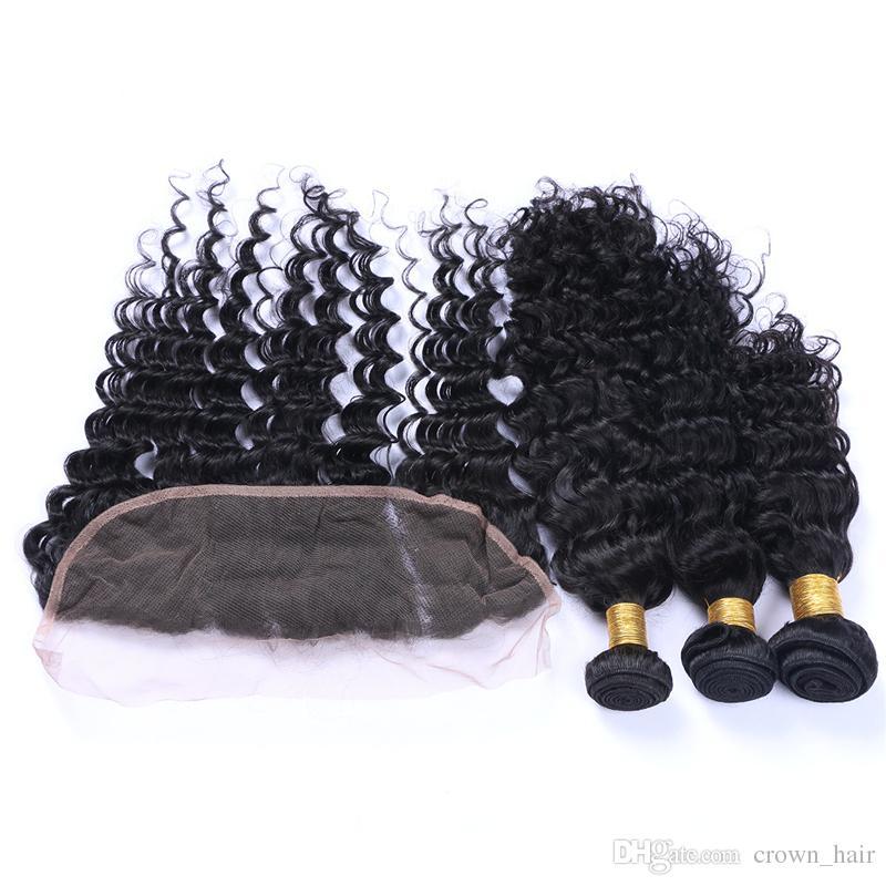 13x4 frontal de encaje con paquetes de cabello humano virginal brasileño / rizado profundo de oreja a oreja frente de encaje completo con tejidos de pelo