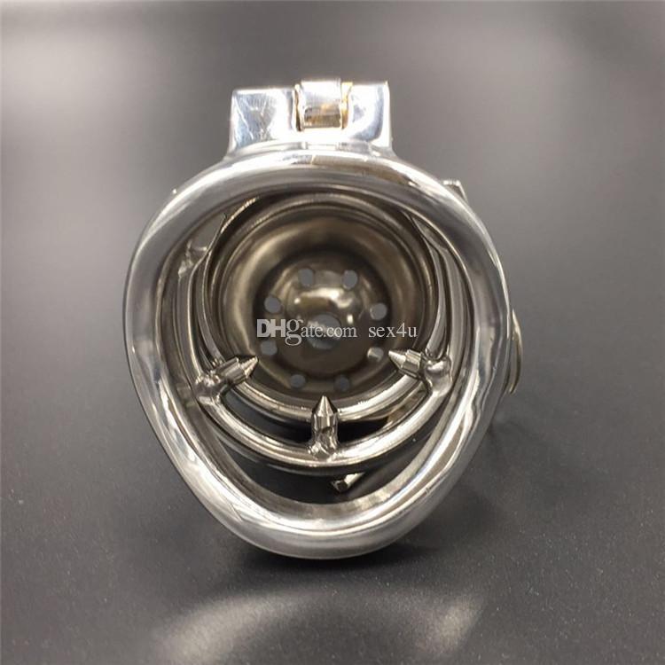 Com picos anti-off anel novo dispositivo de design de bloqueio comprimento total 60mm, gaiola comprimento 45mm de aço inoxidável masculino castidade dispositivos para homens