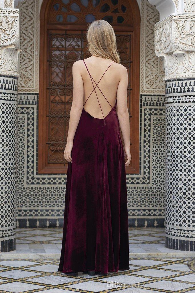 Burgundy Prom Dress Velvet Spaghetti Sexy Evening Dresses Back Criss Cross Front Split Custom Made Floor-Length Formal Party Gowns 2017