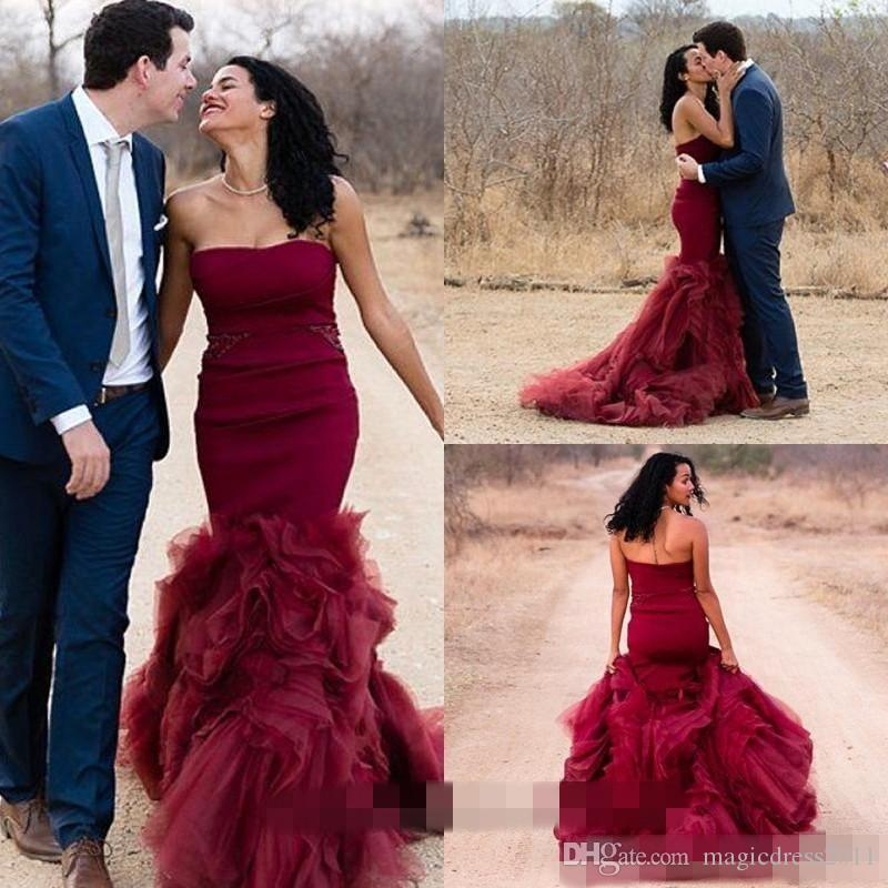 10a752f059 2016 Mermaid Burgundy Wedding Dresses Vintage Colorful Strapless ...