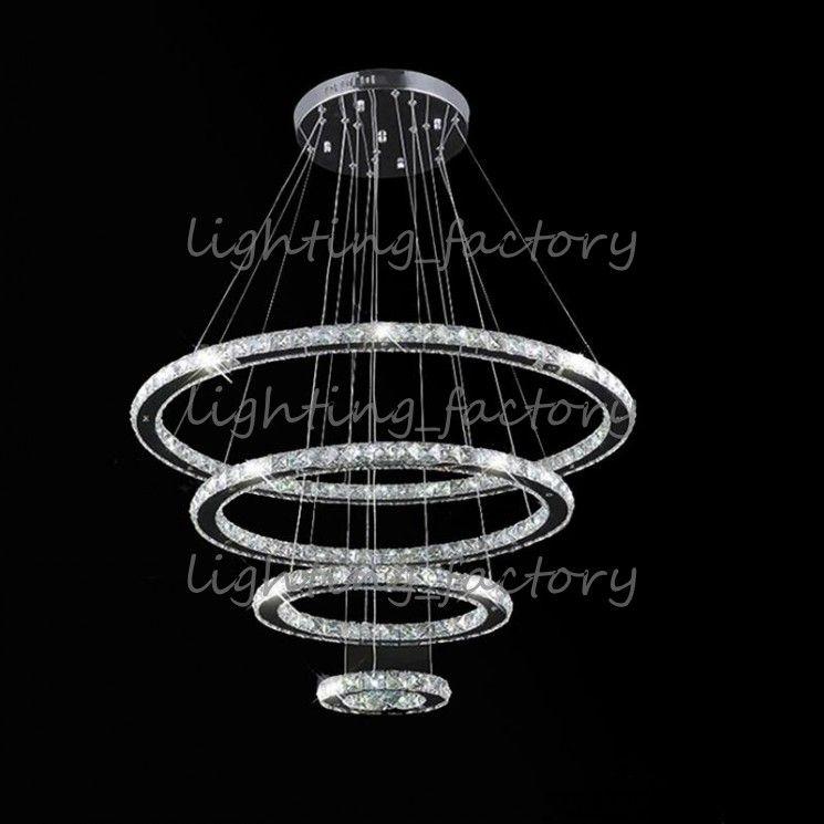 Lámparas colgantes cristalinas redondas del techo de la luz del anillo LED que encienden los accesorios para el vestíbulo del hotel con 120W AC100 a 240V CE FCC ROHS
