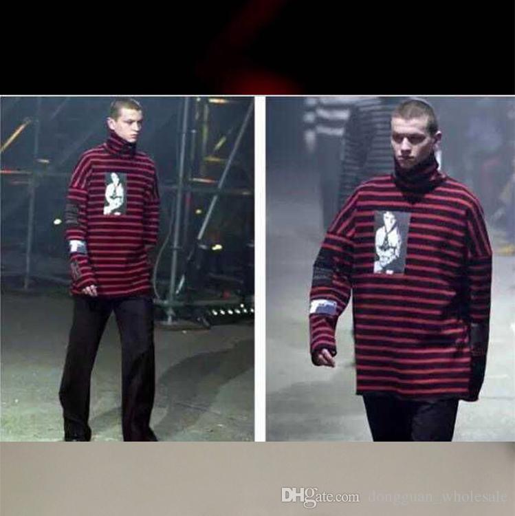 TAILLE S XXL RAF SIMONS Big Bang G-Dragon Hip Hop Rayé Hoodies Rue Marque Homme De La Mode Nouveau GUN Style À Capuche Col Roulé Hiver Swearshirts