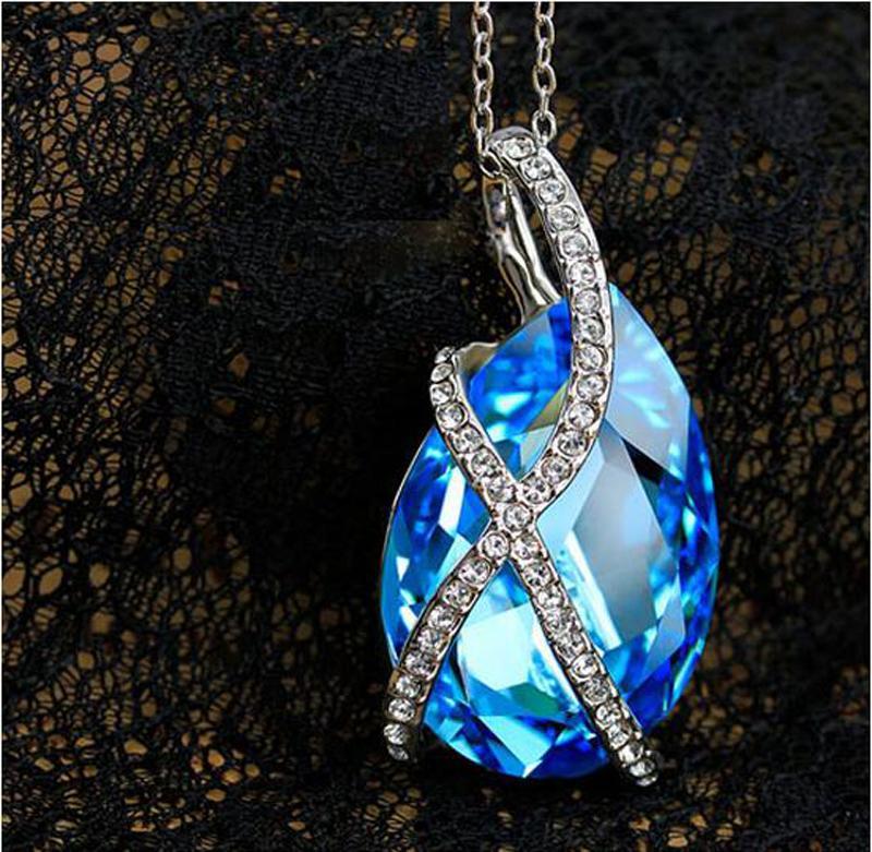 Ожерелье Австрии Кристалл для женщин Мода ожерелье падения воды ювелирных изделий дешевые цены ювелирных изделий 4 цвета 20шт мин заказ G036
