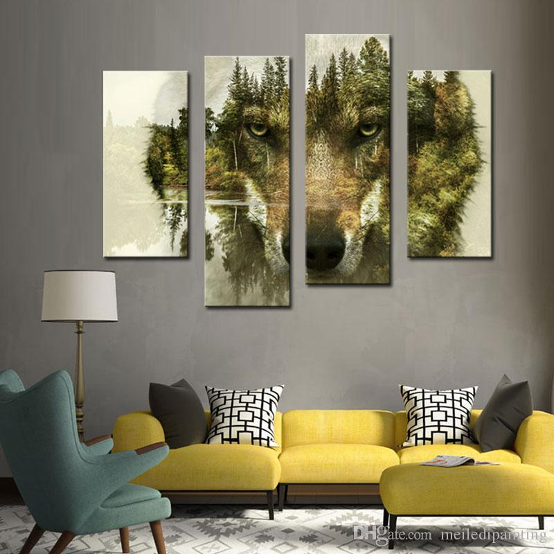 4 Picture Combination Modern Painting Wall Art L'immagine la decorazione domestica Wolf Pine Trees Forest Water Animal Print On Canvas