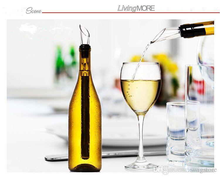 Dispositivo di raffreddamento portatile in acciaio inox 304 bastoncini di ghiaccio Ice Cube Secchio bicchieri di vino versatore con dispositivi di raffreddamento Set freddo pietra sapori bottiglia asta bastone