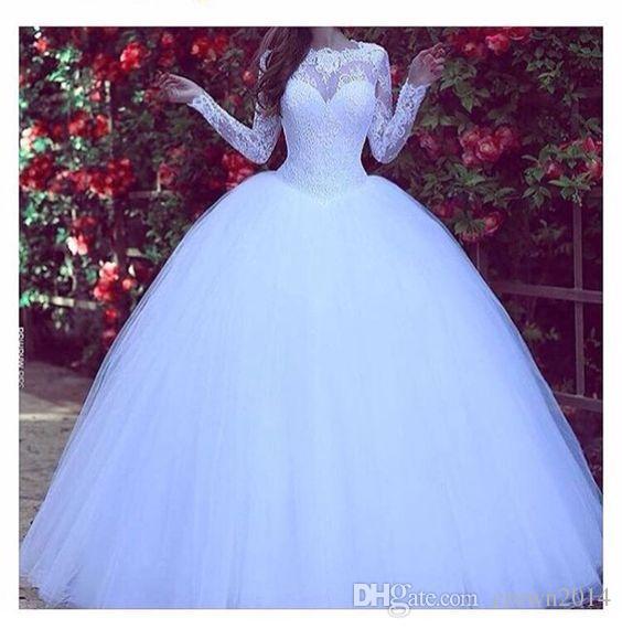Arabie musulmane manches longues robe de mariée en dentelle robe de bal robes de mariée blanc 2019 hiver princesse Puffy robe Tulle robes de mariée modestes