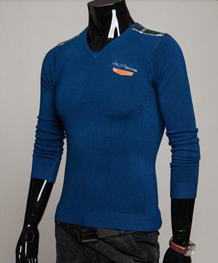 2016 새로운 남성 V - 목 스웨터 야생 바닥 스웨터 남자 니트 - 긴팔 셔츠