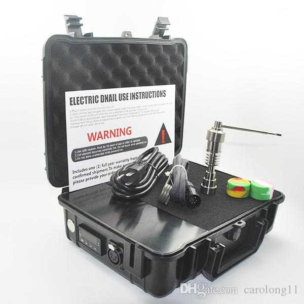Ucuz Pelic Elektrikli Dab Tırnak Kutusu Komple Kiti Titanyum Tırnak Carb Cap kiti için Sıcaklık Kontrol 100 w Rig Yağ Cam Bongs su borusu