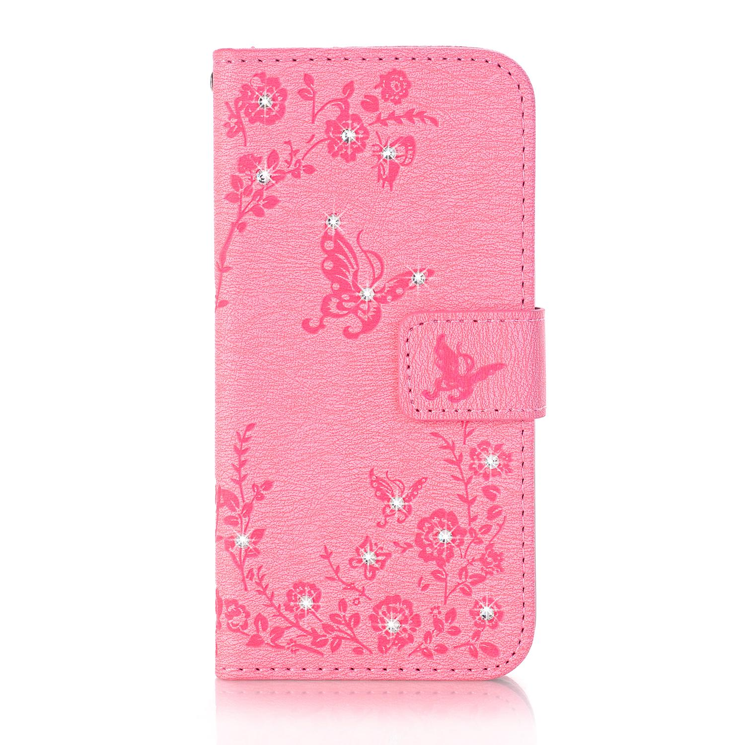 Leather Case Colourful Cover Card Slot Smartphone Cover with Butterfly Pattern For Iphone 5S 6S/6S plus/7 Plus/8 Iphone X