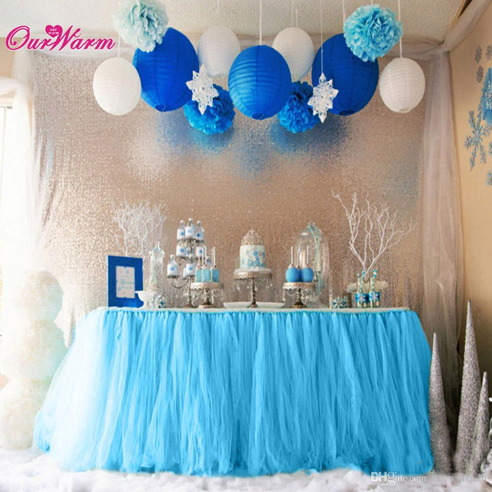 Customized tulle tutu table skirt for tutu baby shower for Baby blue wedding decoration ideas