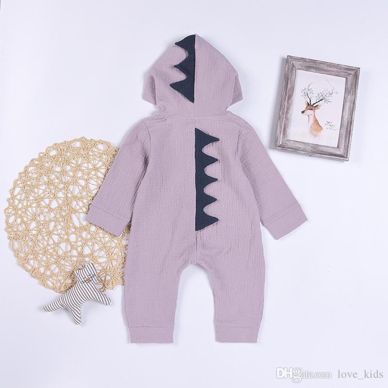 Pagliaccetto dinosauro bambino manica lunga con cappuccio cerniera tute bambini cartoon arrampicata abbigliamento bambini vestiti di alta qualità