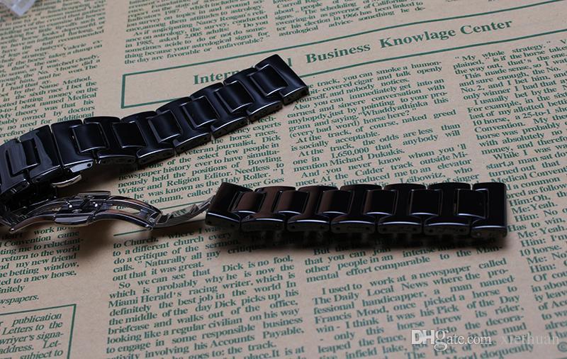 14MM 20MM Black White Ceramic Uhrenarmband-Bügel-Armbänder für Diamanten Uhren Stunden Zubehör Metall Faltschliesse Keramikarmband Art und Weise