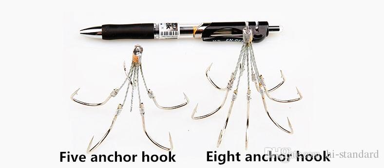 HOT quintuple hooks sextuple hooks octuple hook 5/6/8Paws Hooks Steel wire connection Anchor fish tool Big fish hook High quality!YQHW