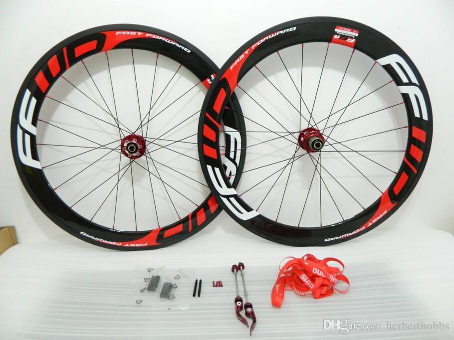 Disco de freio Red Preto Ffwd 60 milímetros rodas 700c * 23 milímetros de carbono Road Bike Clincher Tubular bicicleta Wheelset Red Hubs