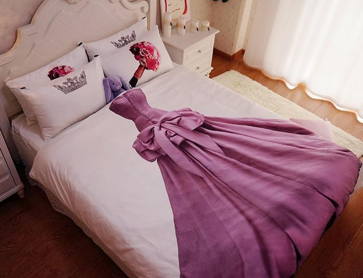 Queen Size Princess Bedding Sets Kids Teen Girls 100% Cotton Bed Sheets  Duvet Cover Set Bedspread Bed In A Bag Full Double Linen Bedsheet  Comforters And ...