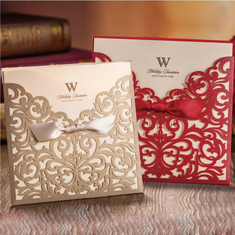 Champagne White Red Wedding Invitations Cards Kr Free Personalized