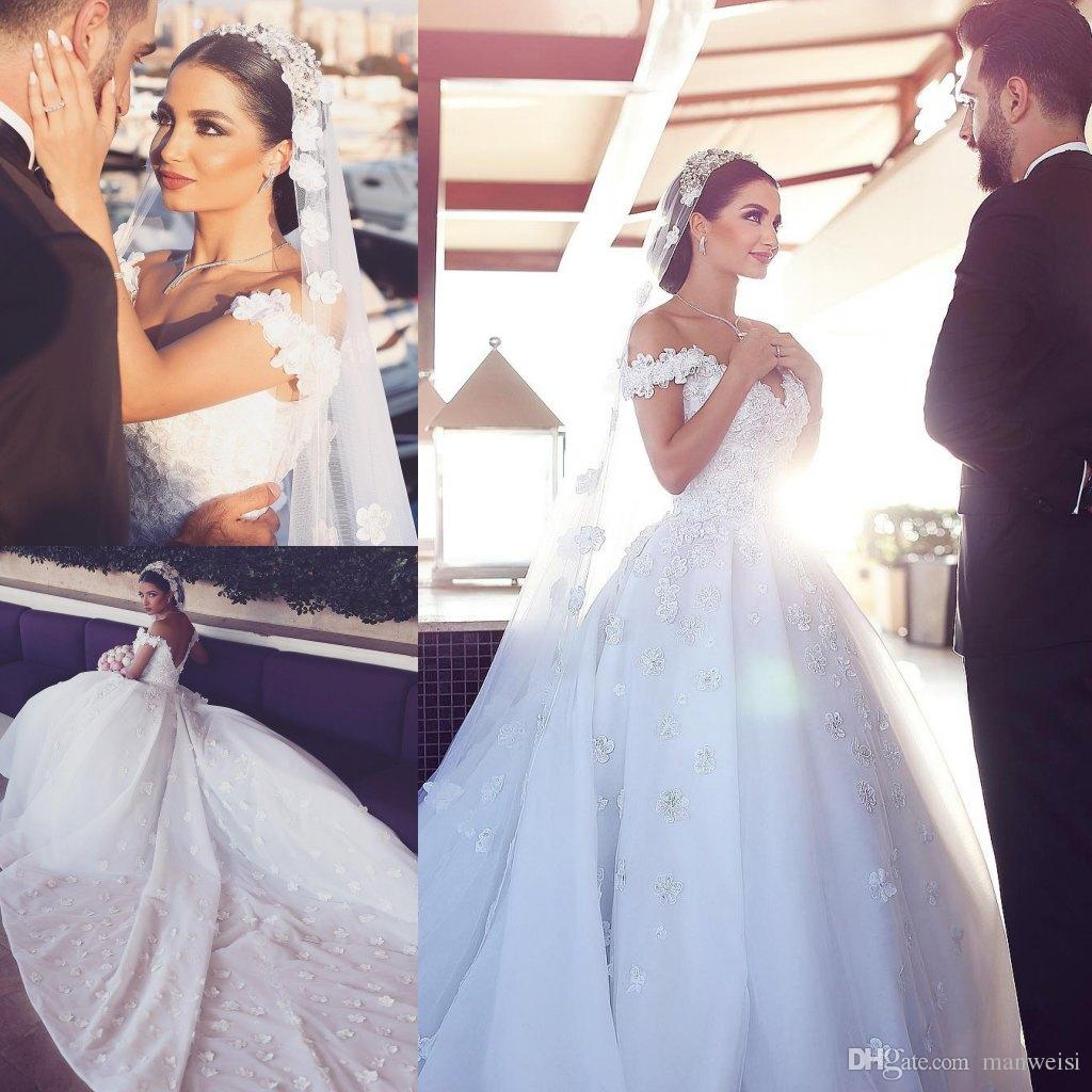 Discount luxury off shoulder arabic wedding dresses 3d floral discount luxury off shoulder arabic wedding dresses 3d floral appliques backless lace bridal gowns sweep train plus size wedding dress weddings ball gowns ombrellifo Images