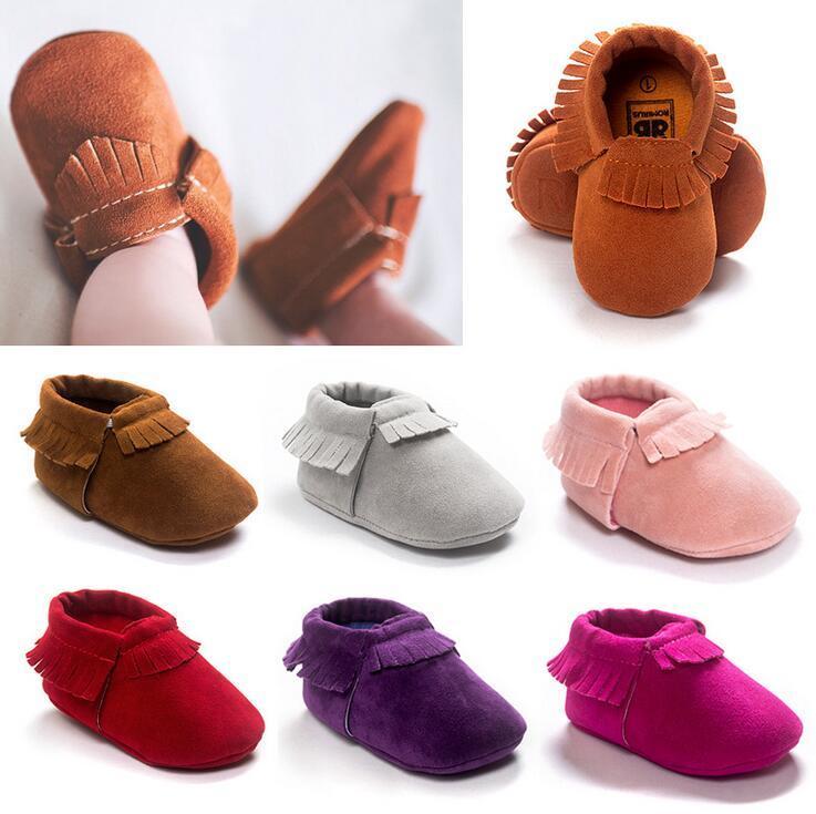 15 색상 베이비 전나무 베이비 moccasins 부드러운 단독 100 % 정품 가죽 첫 번째 워커 신발 아기 신생아 매트 질감 신발 Tassels maccasions 신발