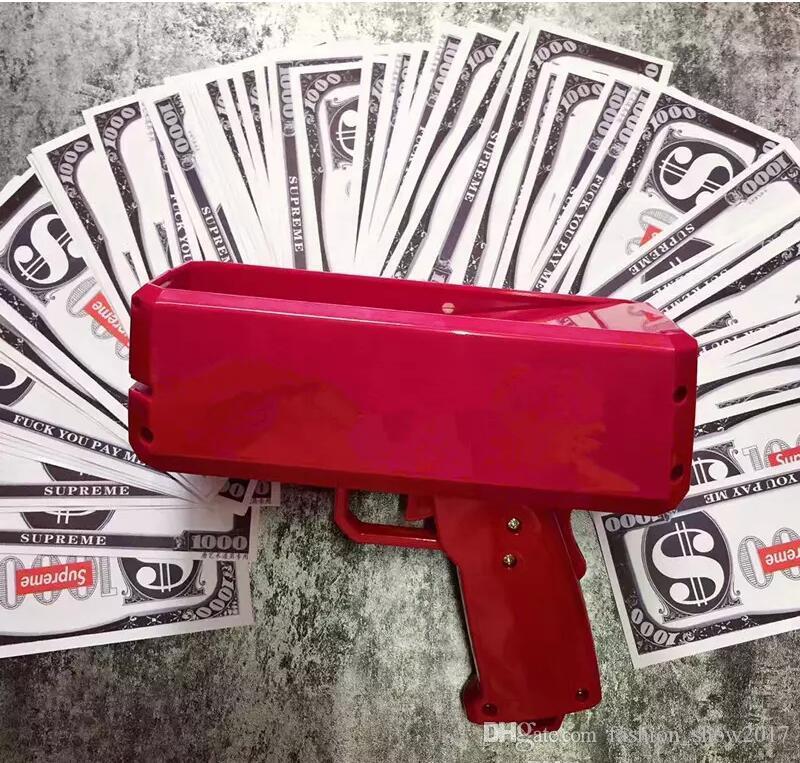 Cash Money Gun Toy Make It Rain Money Spit Banknotes Gun Toys For Kids Christmas Gift Party Funny Toys