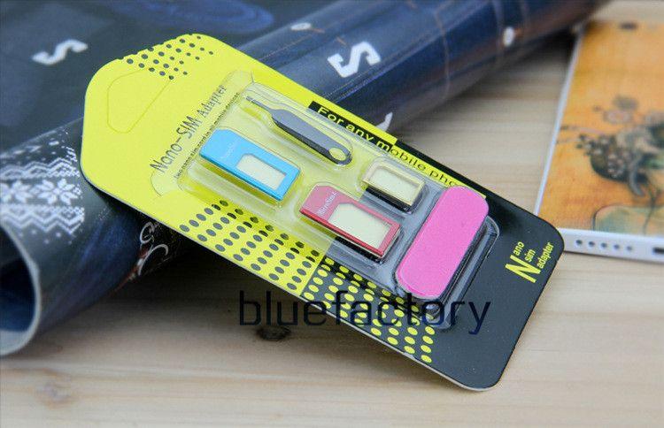 Novo adaptador de cartão de metal sim de alumínio nano slim cartão para micro adaptador conversor ejetar conjunto de pin 5 em 1 para iphone 6 s 5 s telefone celular