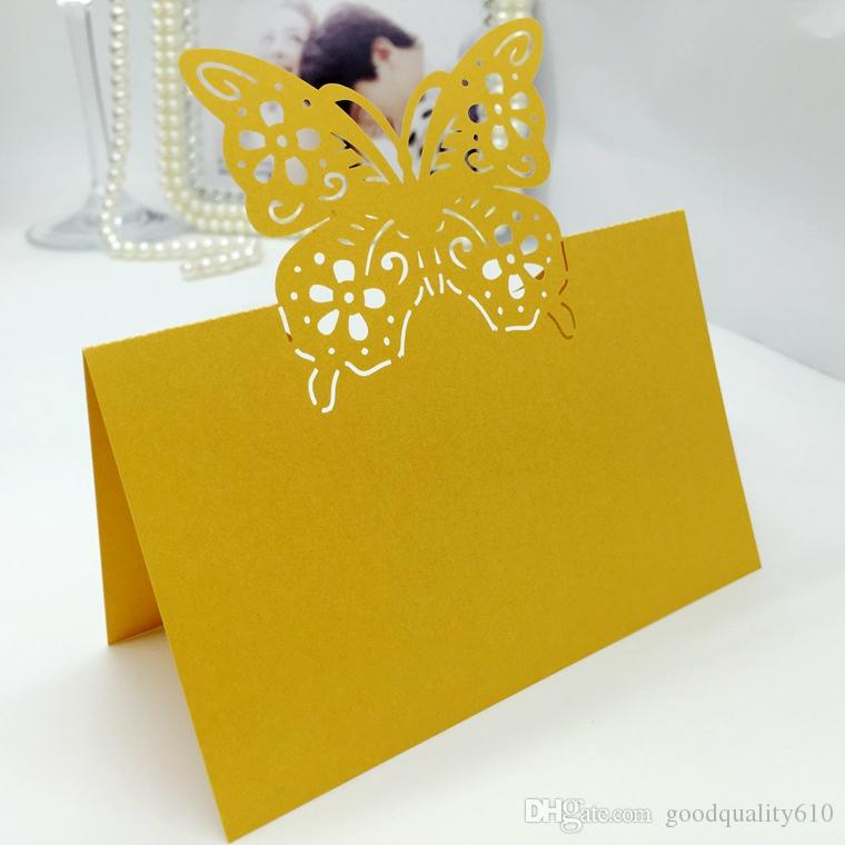 Laser Cut Hollow Butterfly Flower Paper Table Card Number Name Place Card For Party Wedding Decorate Customization