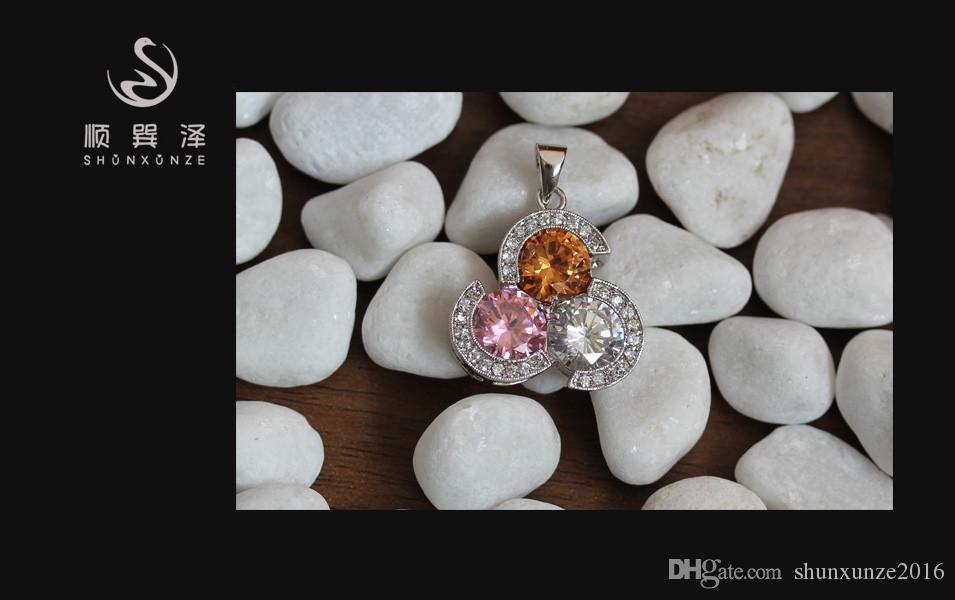 Kupfer Rhodium Plated Empfehlen Anhänger Peridot Pink Zirkonia Edle Großzügige MN4070 Rave Bewertungen Bestseller Zeitlich begrenzte Rabatt