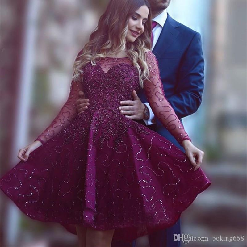 2018 Elegant Red Wine Prom Dresses With Long Sleeves Crystal Beading ...
