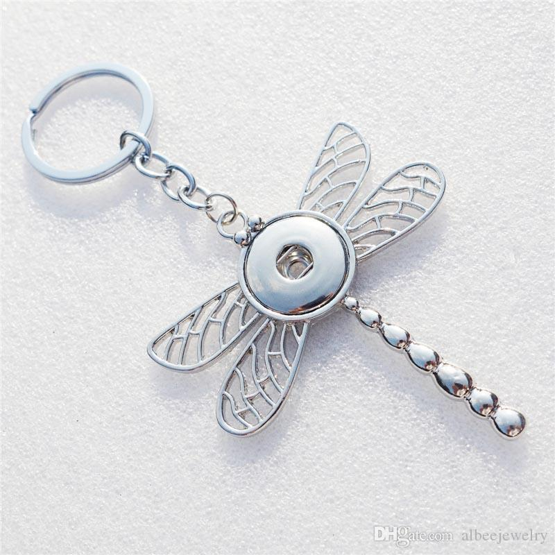 12pcs/lot Fashion noosa chunks metal ginger 18mm snap button keyring Big Dragonfly key chains 6*13cm for women jewelry