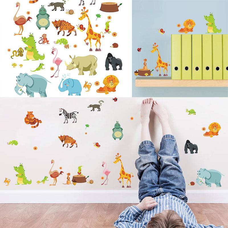 Acheter Mayitr Jungle Animaux Decal Belle Bande Dessinée DIY Enfants Stickers  Muraux Zoo Mural Enfants Pépinière Bébé Chambre Décor Papier Peint Cadeau  De ...