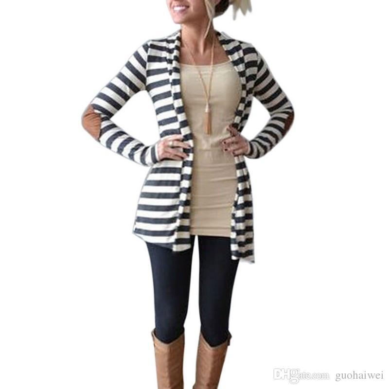 2016 moda nuovo arrivo abbigliamento donna signora a righe cardigan gomito patching in pelle PU cardigan manica lunga casual turndown collo giacca