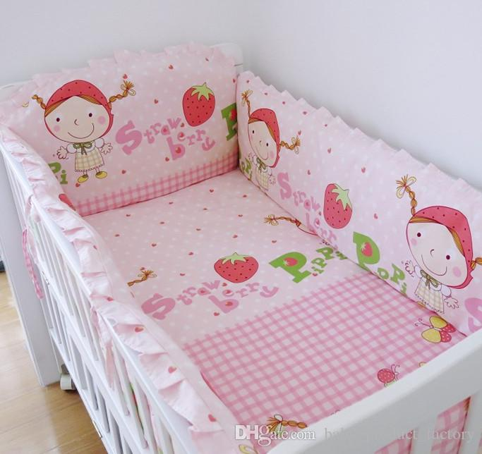Promotion! Baby beding bumper set Cute & Fancy cotton Washable Baby Cot Bedding Bumper ,include4bumpers+sheet+pillowcase