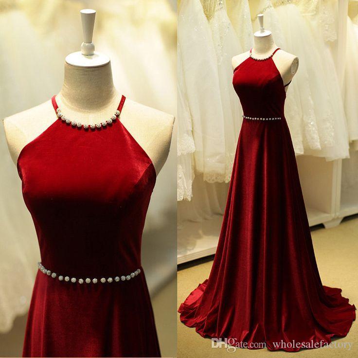 Abiti da sera eleganti linea A in raso rosso scuro con scollo a velluto lungo in velluto con abiti da ballo perline 2017 Online