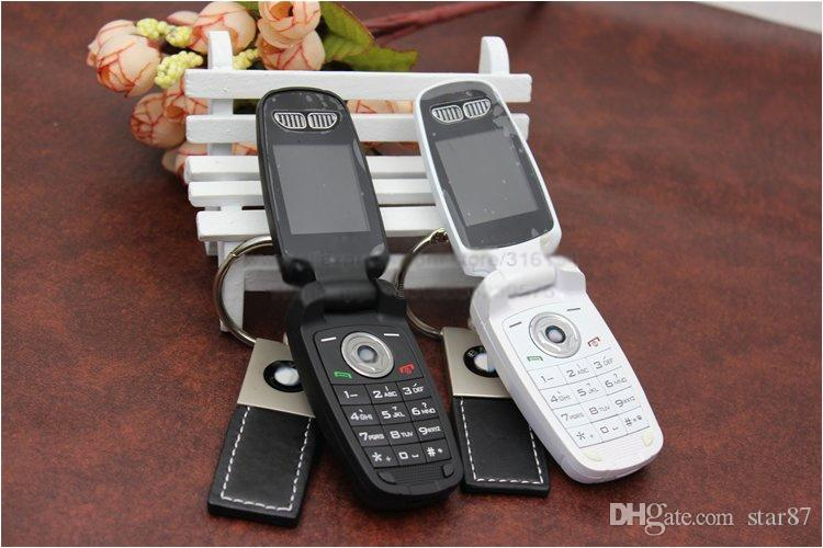 DHL Free New Unlocked Fashion single sim card cartoon flip mobile phone super design with LED Flishlight car key cell phone cellphone