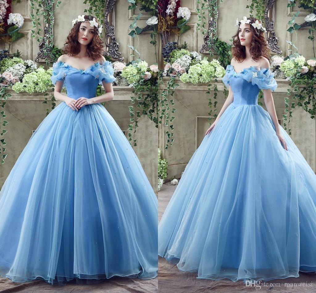 d1f432d1fda7 Vintage Princess Prom Dresses Butterfly Crystal Ball Gown Off Shoulder  Light Sky Blue Cheap Cinderella Evening Gowns Prom Dresses Birmingham Prom  Dresses ...